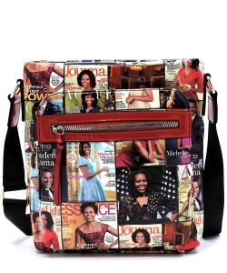 Magazine Cover Collage Crossbody Bag OA2692 MULTIRED
