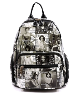 Magazine Cover Collage Backpack OA2697 BLACK