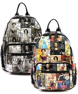 Package of 4 Pieces Magazine Cover Collage Backpack OA2697