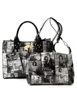 Magazine Cover Collage 3-in-1 Satchel  OA2703 BLACK