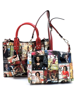 Magazine Cover Collage 3-in-1 Satchel  OA2703 RED MULTI