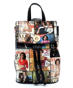Magazine Cover Collage Convertible Drawstring Backpack Satchel OA2708  BLACK/MULTI