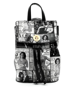 Magazine Cover Collage Convertible Drawstring Backpack Satchel OA2708 GRAYBLACK
