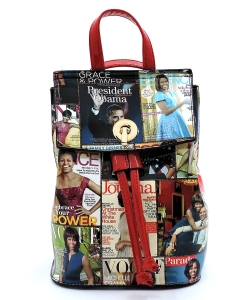 Magazine Cover Collage Convertible Drawstring Backpack Satchel OA2708 RED/MULTI