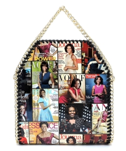 Magazine Cover Collage Chain Trimmed Satchel OA2710 BLACK/MULTI