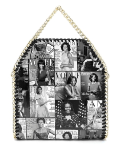 Magazine Cover Collage Chain Trimmed Satchel OA2710 GRAY/BLACK