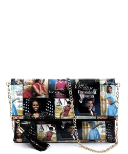 Magazine Cover Collage Bifold Clutch OA2712 BLACK/MULTI