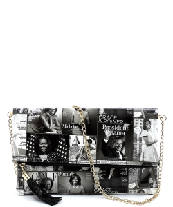 Magazine Cover Collage Bifold Clutch OA2712 GRAY/BLACK