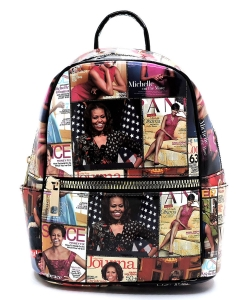 Magazine Cover Collage Backpack OA2729 MBLACK