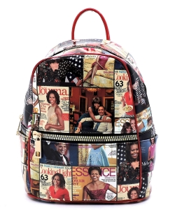 Magazine Cover Collage Backpack OA2729 MRED