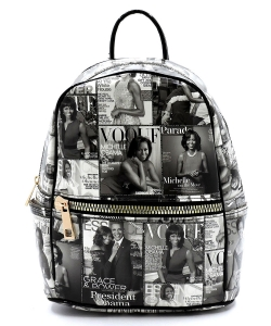 Magazine Cover Collage Backpack OA2729 GRAY BLACK