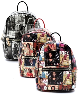 Package of 6 Pieces Magazine Cover Collage Backpack OA2729