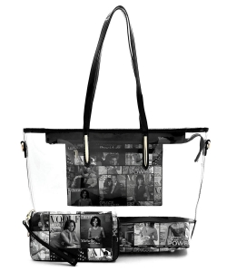 Magazine Cover Collage See Thru 2-in-1 Shopper  OA2731T GRAY BLACK