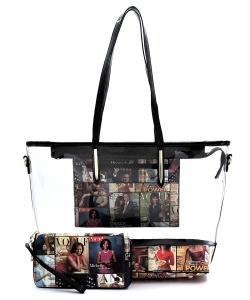 Magazine Cover Collage See Thru 2-in-1 Shopper  OA2731T MULTIBLACK