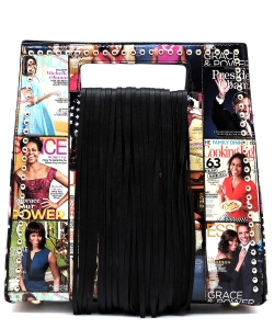 Magazine Cover Collage Fringe Studded Satchel OA2735 MT BLACK
