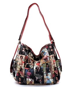 Magazine Cover Collage Convertible Shoulder Bag Backpack OA2737 MTRED