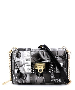 Magazine Cover Collage Zip Around Crossbody Clutch Wallet  OA2745 BLACK