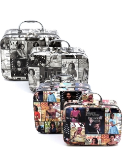 Package of 4 Pieces Magazine Cover Collage 2-in-1 Cosmetic Case OA701