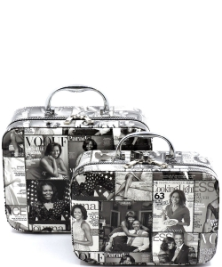 Magazine Cover Collage 2-in-1 Cosmetic Case OA701 BLACK