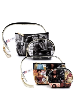 Package of 6 Pieces Magazine Cover Collage 3-in-1 Cosmetic Case OA705