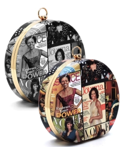 Package of 6 Pieces Magazine Cover Collage Round Clutch OA706