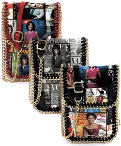 Package of 6 Magazine Cover Collage Chain Trimmed Large Cell Phone Case OA077L