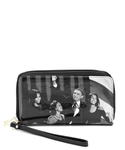 Magazine Cover Picture Double Zip Around Wallet Wristlet OB028C GYBLACK