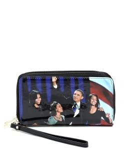 Magazine Cover Picture Double Zip Around Wallet Wristlet OB028C MTBLACK