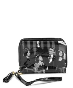 Magazine Cover Picture Zip Around Wallet Wristlet OB044C GYBLACK