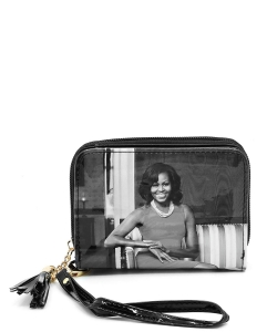 Magazine Cover Picture Zip Around Wallet Wristlet OB044D GRAYBLACK