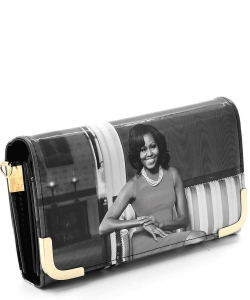 Michelle Obama Picture Crossbody Clutch OB045D BLACK