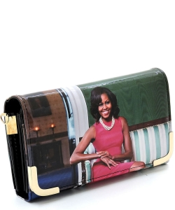 Michelle Obama Picture Crossbody Clutch OB045D BLACKMULTI