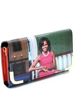 Michelle Obama Picture Crossbody Clutch OB045D REDMULTI
