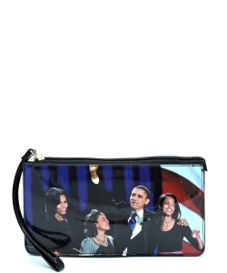 Magazine Cover Picture Crossbody Clutch Wallet Wristlet OB078C MTBLACK