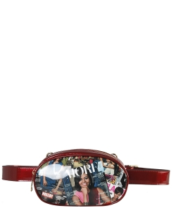 Fashion Faux Leather Magazine Fanny Pack OB7004 RED