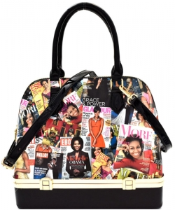 Michelle Obama Magazine Print Bottom Compartment Satchel OB7067 BLACK