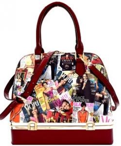 Michelle Obama Magazine Print Bottom Compartment Satchel OB7067 RED
