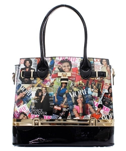 Fashion Faux Leather Magazine Handbag OB-7105 BLACK