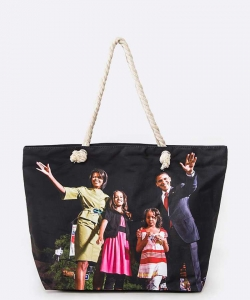Obama Family Picture Printed Tote Set BLACK