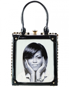 Frame Rhinestone Michelle Obama Fashion Small  Magazine Print Faux Patent Leather Handbag With Gold