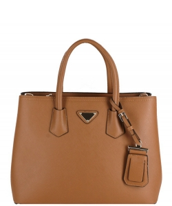 Triangular Logo Structured Saffiano Satchel OCK-510617  CAMEL