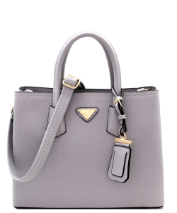 Triangular Logo Structured Saffiano Satchel OCK-510617  GRAY