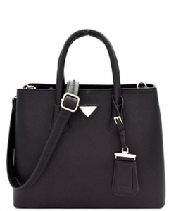 Triangular Logo Structured Saffiano Satchel OCK510617-1  BLACK