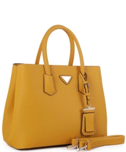 Triangular Logo Structured Saffiano Satchel OCK510617-1  MUSTARD