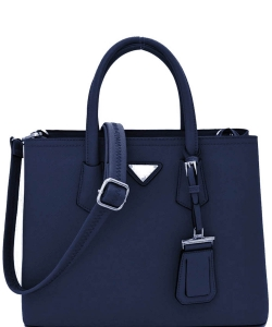 Triangular Logo Structured Saffiano Satchel OCK510617-1  NAVY
