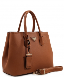 Triangular Logo Structured Saffiano Satchel OCK510617-1  CAMEL