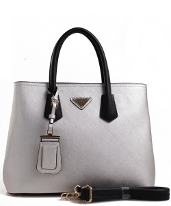Triangular Logo Structured Saffiano Satchel OCK510617-1  SILVER BLACK