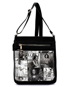 Magazine Cover Collage Crossbody Bag OD1238 BLACK