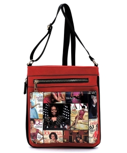 Magazine Cover Collage Crossbody Bag OD1238 MTRED