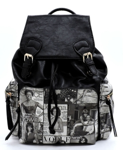 Magazine Cover Collage Backpack OD2738 BLACK